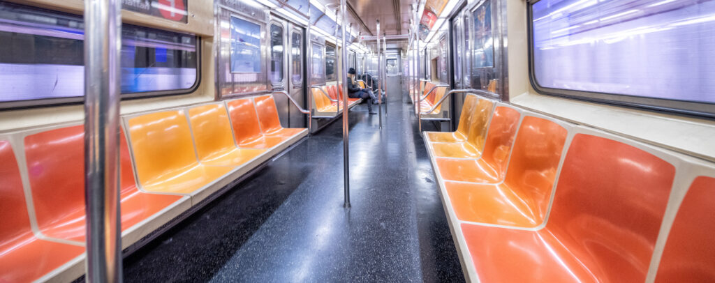 Empty New York subway car during outbreak